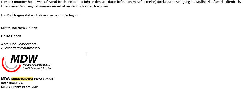 Pelzankauf.de Entsorgungsnachweis